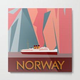 Norway fjords retro vintage style travel Metal Print