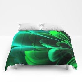 Stylized Half Flower Green Comforters