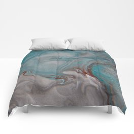 Silver Blues 1 - Abstract Art by Fluid Nature Comforters