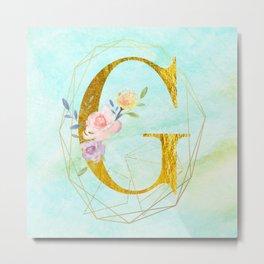 Gold Foil Alphabet Letter G Initials Monogram Frame with a Gold Geometric Wreath Metal Print
