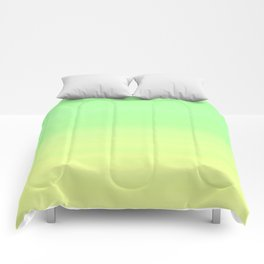 Lime Pastel Gradient Stripes   Green yellow pattern Comforters