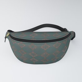 SUMERIA antique copper Persian motif pattern deep teal background Fanny Pack
