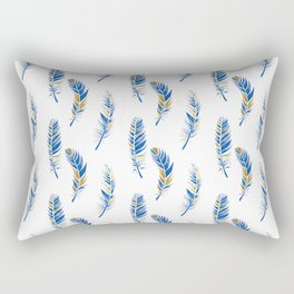 Watercolour Feathers - Navy and Gold Rectangular Pillow