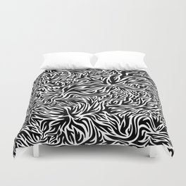Black And White Psychedelic Flames Duvet Cover