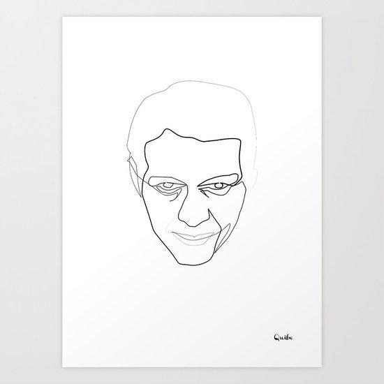 One line steve Mc Queen white Art Print