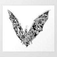 bat Art Prints featuring Bat by Gwyn Hockridge
