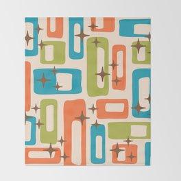 Retro Mid Century Modern Abstract Pattern 921 Orange Chartreuse Turquoise Throw Blanket