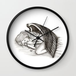 A sleeping Angel , Black and white Design Wall Clock
