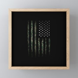 Khaki american flag Framed Mini Art Print