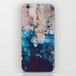 Breathe Again: a vibrant mixed-media piece in blues pinks and gold by Alyssa Hamilton Art iPhone Skin