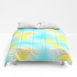 Cyan Blue and Yellow Mermaid Tail Abstraction. Magic Fish Scale Pattern Comforters