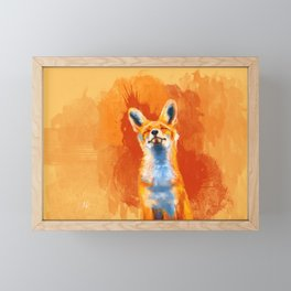 Happy Fox on an orange background Framed Mini Art Print