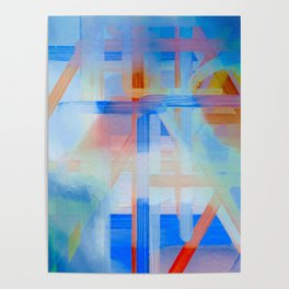 Blue Lines Overlay Abstract Poster