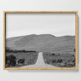 Road Outta Town // Black and White Landscape Photograph Going Out to Nowhere Peaceful Scenery Serving Tray