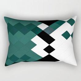 Emerald Green White Black Geometrical Pattern Rectangular Pillow