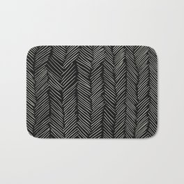 Herringbone Cream on Black Bath Mat