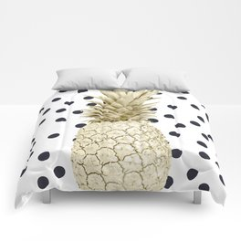 Gold Pineapple on Black and White Polka Dots Comforters