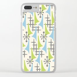 Mid Century Modern Atomic Wing Composition 92 Blue Chartreuse and Gray Clear iPhone Case