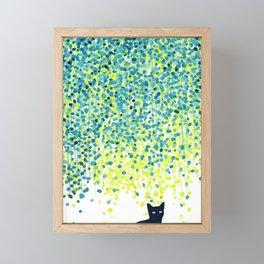 Cat in the garden under willow tree Framed Mini Art Print