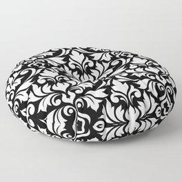 Flourish Damask Big Ptn White on Black Floor Pillow