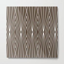 Simple Modern Diamond Lines Brown Metal Print