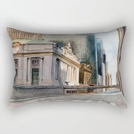 Grand Central Station and the Chrysler Building I Rectangular Pillow