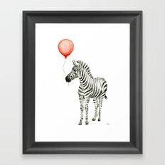 Baby Zebra Whimsical Animal with Red Balloon Nursery Art Framed Art Print