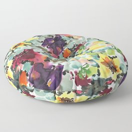Exotic colorful waterclour floral pattern design Floor Pillow
