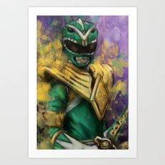 Green Mighty Morphin Power Ranger Art Print
