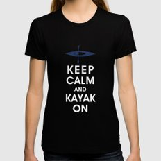 Keep Calm and Kayak On Womens Fitted Tee Black LARGE