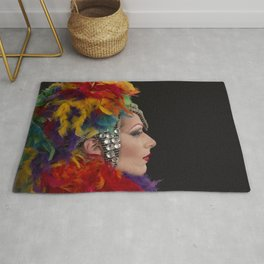 Drag Queen in Rainbow Headdress (Profile) Rug