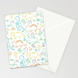 Colorful dinosaur pattern on white Stationery Cards