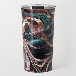 Metallic Rose Gold Marble Swirl Travel Mug