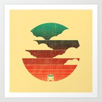 minimal Art Prints featuring Go West by Picomodi