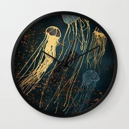 Metallic Jellyfish Wall Clock