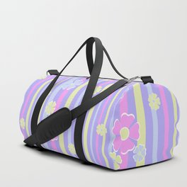 Retro Lilac striped floral pattern kids childish girlish Duffle Bag