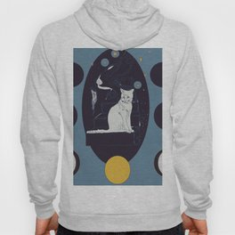 Kitty Ascension Moon Phase in Muted Blue Hoody