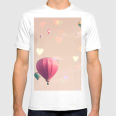 Hot air balloons nursery and heart bokeh on pale pink MEDIUM White Mens Fitted Tee