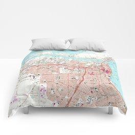 Vintage Map of Corpus Christi Texas (1968) Comforters