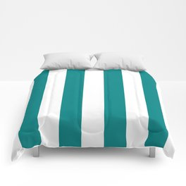 Vertical Stripes - White and Dark Cyan Comforters
