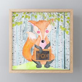 The little Fox - Woodland Friends - Watercolor Illustration Framed Mini Art Print