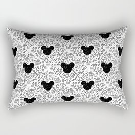 Magic Doodle - happy, magic, kingdom, neverland, wonderland, black and white Rectangular Pillow
