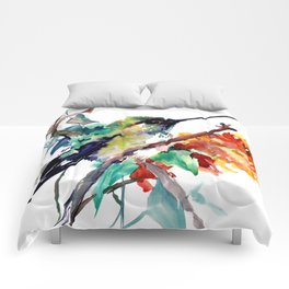Hummingbird and Orange Flowers, tropical Olive green Comforters