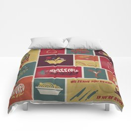 Vintage Food Collage Old Style Comforters