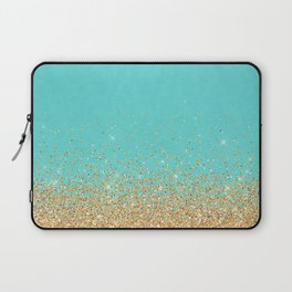 Sparkling gold glitter confetti on aqua teal damask background Laptop Sleeve