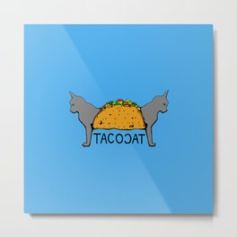 Tacocat Two-Headed Cat Taco with Lettering Metal Print