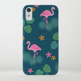Bohemian nonchalance tropical flamingo pattern on dark background iPhone Case