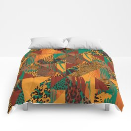 Geometrical orange brown green abstract safari animal print Comforters