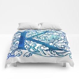 Letter K Antique Floral Letterpress Comforters