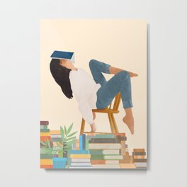 Lost in my books Metal Print